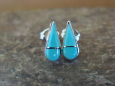 Native American Zuni Sterling Silver Turquoise Tear Drop Earrings! Handmade! Vel