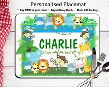 Personalised Table Placemat - Jungle Animals ANY NAME Dinner Mat MDF GLOSSY WOOD