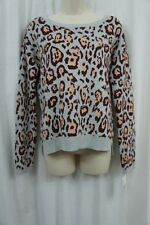 Maison Jules Sweater Sz S Heather Grey Combo Leopard Scoop Neck Pullover Casual