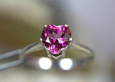 TOPAZ - Smokin' Hot Pink Heart-shaped .925 Sterling Silver Ring 1.63ct