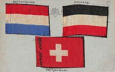 A93/ Foreign Postcard Waverley Hotel Edinburgh SILK Flags Germany Netherlands