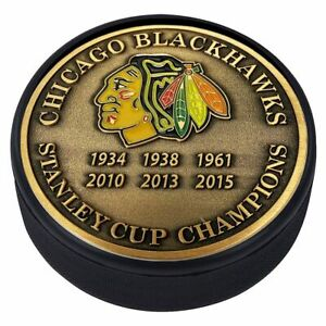 Chicago Blackhawks 3D Textured Gold Plated Stanley Cup Medallion Hockey Puck