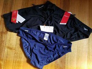 3 Pair size 24 105cm Speedo Swimwear Endurance 8cm Brief -2 Black, 1 Navy Men's