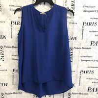 Pleione Womens Shirt Solid Royal Blue Sleeveless Y Neckline Hi Lo Hemline Size M