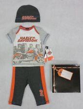 Harley-Davidson Newborn Boys 3-Piece Shirt, Pants, Cap with Gift Box 3-6 M