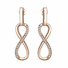 Rose Gold Infinity Drop Earrings with Crystals from Swarovski® in Gift Pouch