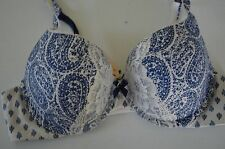 Body by Victoria's Secret perfect shape 36B bra blue white paisley