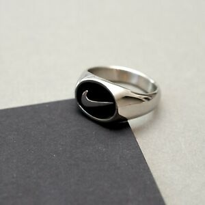 Silver Nike Signet Ring Silver Coated Stainless Steel Men / Women Birthday Gift