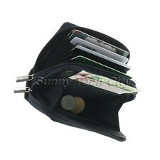 1Pc Compact Mens PU Leather 2 Zipper ID Name Credit Card Wallet Purse Bag Random