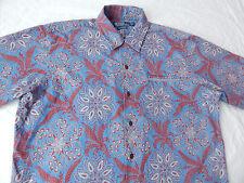 Blue Paisley Floral Short Sleeve Camp Shirt - Polo Ralph Lauren Mens Medium M