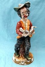 "LARGE OLD CAPODIMONTE FIGURINE ""MAN READING PAPER"" 15 1/2"" TALL OLD CAPO STAMP"