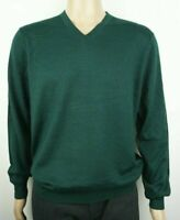 "Men`s New CHRISTIAN BERG Wool Blend V-Neck Jumper Size Large 42"" Sweater Green"