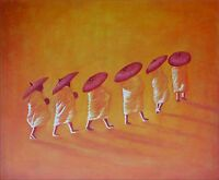 People Walking on Desert, Hand Painted Oil Painting 20x24in