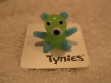 Ted Teddy Bear blue green Tynies Glass Figure Figurine Collectible 039