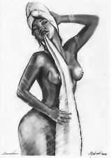 original drawing A4 478LM art by samovar Charcoal woman nude Signed 2020