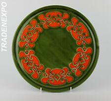 Vintage 60s SCHRAMBERG KERAMIK Green Cake Plate West German Pottery Fat Lava Era