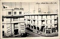 Suez Ägypten s/w AK ~1950/60 Straßenpartie an den Hotel Misr und Bel Air Leute