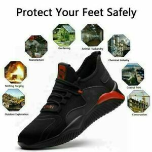 UK Mens Lightweight Steel Toe Cap Safety Trainers Hiking Boots Women Work Shoes