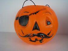 Vintage GENERAL FOAM Blow Mold Halloween PIRATE Jack-O-Lantern Candy Bucket