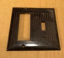 Vintage Sierra Brown Triplex receptacle Toggle Wall Plate Ribbed Bakelite