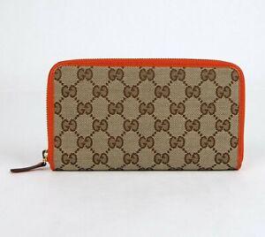 Gucci Beige Original GG Canvas Orange Leather Trim Zip Around Wallet 363423 9800