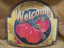 Welcome Apples Tin Metal Sign Decor Farm Barn Door Kitchen