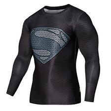 Men Compression Shirt Batman VS Superman 3D Printed  Long Sleeve T-shirts(XL)
