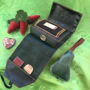 ANTIQUE SHAKER 1860-80s LEATHER SEWING KIT- STERLING THIMBLE, PINCUSHIONS & MORE