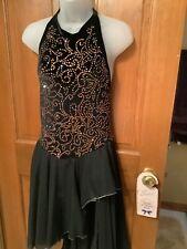Ladies Black Velvet Skating Dress With Swarovski Gold Rhinestones Size Small