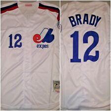 VERY RARE Tom Brady #12 Montreal Expos Replica Baseball Jersey White Mens Sz XL