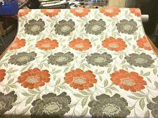 Qualità Grigio Talpa in terracotta arancio floreale tessuto per tende 1/2 prezzo di vendita!