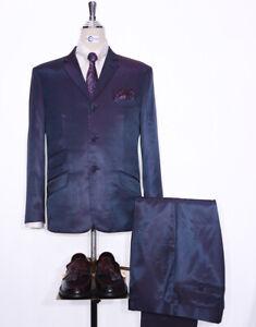 Two Tone Suit, Red & Blue Two Tone Tonic Suit 60s Mod Style Men Suit