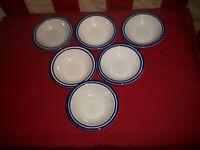 Lot of 6 VTG SYRACUSE CHINA Berry Bowls SPECKLED/Blue Stripe~RESTAURANT WARE