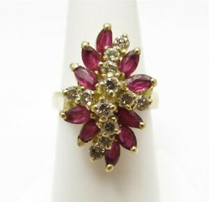 14K Yellow Gold Marquise Ruby & ~5/8CTW Diamond Cluster Ring Size 7
