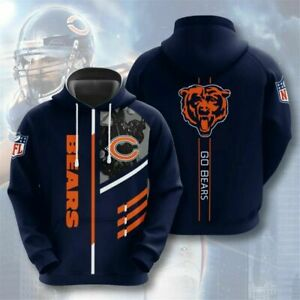 Chicago Bears Hoodies Football 3D Print Sweatshirt Pullover Fans Casual Jacket