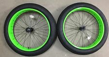 26 x 4 BICYCLE FAT TIRE WHEEL SET - WHEELS AND TIRES - GREEN