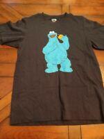 Cookie Monster Mens Uniqlo UT Graphic T-Shirt Black Kaws Sesame Street S