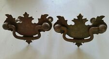 2 MATCHING small  vintage old  metal   decorative  pulls drawer handles  (114D)