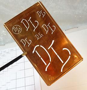 DL D L monogram initials letters stencil antique LARGE copper plate family name