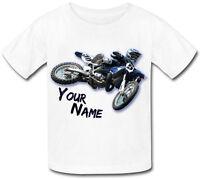 MOTOCROSS BLUE MX BIKE PERSONALISED KIDS T-SHIRT -NAMED GIFT PRESENT FOR A CHILD