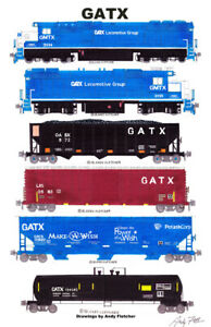 """GATX Locomotives and Freight Cars 11""""x17"""" Poster by Andy Fletcher signed"""