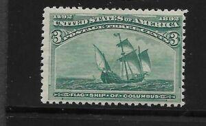 "US Scott #232 mint never hinged 3c green ""Santa Maria"" Columbian 1893 og f/vf"
