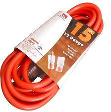 15-Ft Extension Cord 12 Gauge Lit End AWG Heavy Duty UL NEW 12/3 Foot Feet