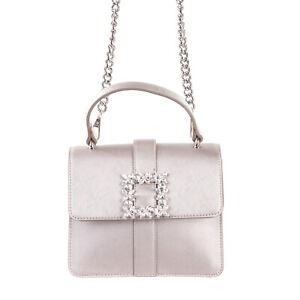 RRP €165 ERMANNO ERMANNO SCERVINO Satchel Bag PU Leather Rhinestones Details