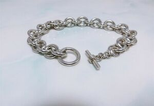 """Heavy Solid Sterling Silver Rolo Link Bracelet With Toggle Clasp 8.5"""""""
