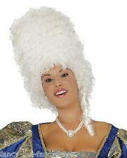 Ladies Marie Antionette White Baroque Beehive Fancy Dress Costume Outfit Wig