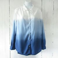 Beach Lunch Lounge Top XL X Large Blue White Ombre Long Sleeve Button Up
