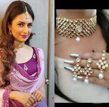 Gold Plated Kundan Choker Necklace Set Bollywood Bridal Indian Pearl Jewelry Set