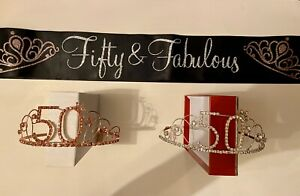50TH Birthday 2 Metal Gem Tiaras 1 Satin Sash Fifty & Fabulous Black Silver Pink