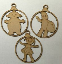 6x wooden Christmas character 3mm mdf baubles Christmas Tree decoration ornament